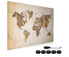 Navaris Tablero de Notas magnético - Pizarra con diseño mapamundi Vintage - Pizarra magnética con Marcador Negro y 5 imanes
