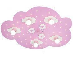 Elobra-Leuchten 124314 - Lámpara LED de techo (con 5 bombillas), diseño de nube, color rosa