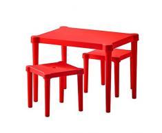 Ikea Lätt 'de malla' mesa infantil con 2 sillas para interior y exterior – Muy Resistente – Color Rojo