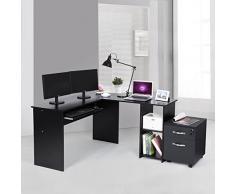 SONGMICS Escritorio de la Computadora Negro Mesa de Ordenador en Forma de L, Mesa esquinera para Casa Oficina, con 2 Estantes de Almacenaje,140 x 120 x 75 cm LCD810B