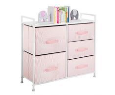 mDesign Cómoda de tela - Estrecho organizador de armarios con 5 cajones - Práctico mueble cajonera para el dormitorio, la habitación infantil o zonas pequeñas - Armario con cajones - rosa/blanco