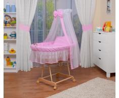 WALDIN Cuna Moisés, carretilla portabebés XXL, 9 colores a elegir, rosa/blanco