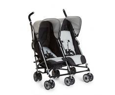 Hauck Turbo Duo - silla gemelar para gemelos y hermanos de 0 meses (combinable con capazo blando Carrycoat 2en1) a 2 x 15kg/ ancho 75cm/ ligera/plegable compacto/gris negro