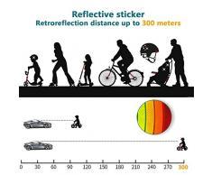 DZSEE Pegatinas Reflectantes, Pegatinas para Cascos de Moto, 42 Piezas Pegatinas Reflectantes Kit, Adhesivo Universal para Bicicleta/Cochecito/Casco/Moto/Motocicleta, Visibilidad de Noche (Blanco)