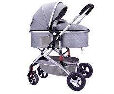 STRR Carrito silleta, Convertible reclinado Cochecito, Plegable y portátil a Prueba de Golpes Cochecito del Carro de bebé, arnés de 5 Puntos y Alta Capacidad de la Cesta (Color : Gray)