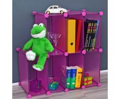 Estante Armario para oficina, pasillo, niños Estantería para CD, libros en fucsia rosado traslúcido