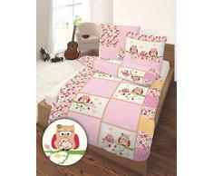 Ropa de cama infantil de franela Ido Búhos en color rosa 135 x 200 + 80 x 80 cm