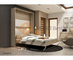 Armario de pared vertical Smart cuna cama 160 x 200 madera de roble Sonoma/frontal blanco con brillante
