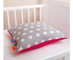 Cojín con relleno con cojín decorativo agradable suave diseño de lunares colour gris/rosa 40 cm x 40 cm