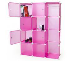 TecTake Estantería Armario Organizador Aparador por Módulos para Oficina, Habitación infantil, Salón, Baño en rosa