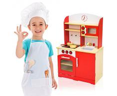 TecTake Cocina de madera de juguete para niños juguete juego de rol toy rojo
