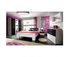 JUSTyou VICKA II 160 Conjunto Dormitorio habitación de Matrimonio Blanco Mat/Negro Brillante I
