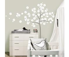 MYVINILO - Vinilo decorativo infantil - Sakura / blanco / plata (150 x 165 cm)