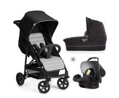 Hauck Rapid 4 Plus Trio Set - Carrito de bebe 3 in 1, de 0 meses a 25 kg, adaptable a Isofix, capazo, respaldo reclinable, manillar ajustable en altura, plegado con una mano, grupo 0+, negro gris
