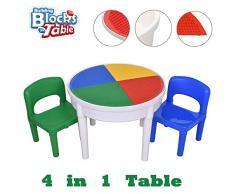 SEIGNEER seig neer 4 en 1 Mesa y Silla kindermbel – Mesa Infantil con 2 sillas Infantil Mesa de Juegos Caja and Water