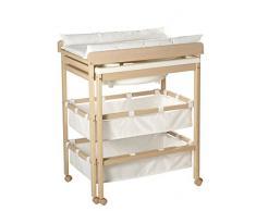 Combinacion bañera cambiador roba Baby Pool, bañera con cambiador encima plegable, en madera natural, colchoneta del cambiador en blanco.