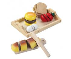 Happy People 45006 - Tabla de cortar comida de madera con alimentos de juguete [Importado de Alemania]