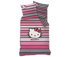 Hello Kitty - Ropa de cama infantil (160 x 200 cm), color rosa y gris