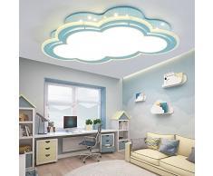 Lámpara de techo LED infantil Nubes Forma Sencilla Moderna creativa Niños y Niñas Dormitorio calientes Caricatura Princesa habitación Luces 30 W Iluminación Azul