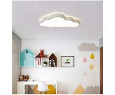 Luz de techo de nubes LED, lámpara de techo de irradiación de 360 ° dormitorio aula de guardería (Luz blanca, Borde blanco (50 * 28 cm) 48 W)