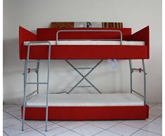 Cama litera con mecanismo innovador, equipado con un sistema de seguridad. Dos colchónes de buena calidad incluido! Tapicería de piel sintética. Producto MADE IN ITALY!!!