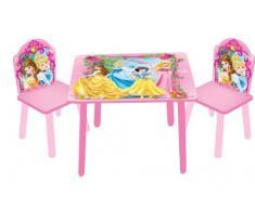 JNH Europe Disney Designs - Juego de mesa y 2 sillas infantiles (madera y tablero DM, 60 x 60 x 42 cm), diseño de Princesas Disney, color rosa