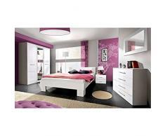JUSThome VICKA II 160 Conjunto dormitorio habitación de matrimonio Blanco Mat / Blanco Brillante
