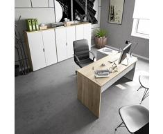 Habitdesign 0F4655A - Mesa Office, Mesa despacho Ordenador Modelo BUC 3 cajones, Color Blanco Artik y Roble Canadian
