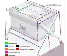 Minicuna Tijera madera Mibebestore Blanco/Gris Niña Globos, incluye Textil exterior + Colchón + Colcha + Almohada
