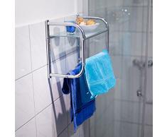 Relaxdays Estante y toallero de Pared, Acero Inoxidable y Vidrio, 34 x 45 x 23 cm, 1.9 Kg, Plata