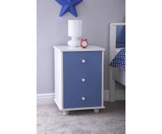 Mesilla de noche 3 cajones azul blanco niños muebles de dormitorio Miami cajón pecho