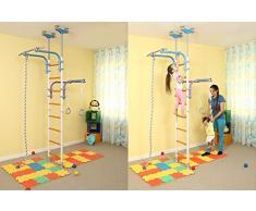 Kids-Juego de Parque infantil para suelo y techo/Familia Interior Entrenamiento en el gimnasio deporte Set con accesorios Equipment: Climber, Cuerda de escalada y anillas de gimnasia/traje para apartamento, escuela, habitación