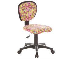 hjh OFFICE 670165 KIDDY TOP Smileys Silla para niños y silla giratoria, tejido rosa / amarillo