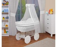 WALDIN Cuna Moisés, carretilla portabebés XXL,18 modelos a elegir,Madera/ruedas lacado en blanco,color textil blanco