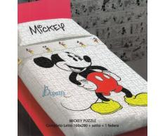 Carrara – Colcha acolchada una plaza Disney Mickey Puzzle