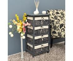 Cómoda en estilo antiguo para pasillo, baño o vestíbulo en gris con cuatro cestas de mimbre en ratán