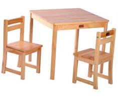 TikkTokk Boss - Juego infantil de mesa y sillas (acabado barnizado), color madera natural