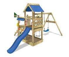 WICKEY Parque infantil de madera TurboFlyer con columpio y tobogán azul, Torre de escalada da exterior con arenero y escalera para niños