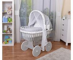 WALDIN Cuna Moisés, carretilla portabebés XXL, 44 colores a elegir,Madera/ruedas lacado en gris,color textil gris/estrellas-gris