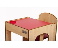 Little Helper FunStation Original juego de mesa y silla para niños pequeños con bolígrafo/cepillo Pot (arce/Natural/Rojo acabado)