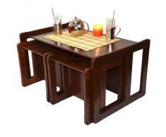 Multifuncional Nido de Mesas de Café, Una Mesa o Banco y Dos Mesas o Sillas Muebles de Madera o Muebles de Madera Oscura Para Niños Conjunto de Tres Piezas