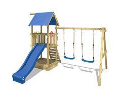 WICKEY Parque infantil de madera Smart Echo Casita de juego Torre para trepar para jardin con cajón de arena, columpio doble y tobogán