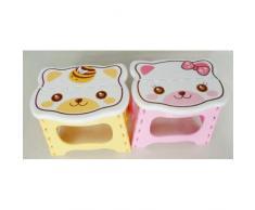 Dcolor Taburete Plegable Firme Diseno de Gato para Nino - Rosa