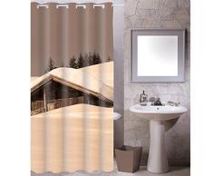 MSV Cottage Sepia - Cortina de baño, 100% poliéster, multicolor
