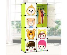 Fácil de plástico armario fácil combinación de resina verde DIY armario vestidor armario niños