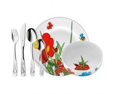 WMF Mundo Animal - Vajilla para niños de 6 piezas, incluye plato, cuenco y cubertería (tenedor, cuchillo de mesa, cuchara y cuchara pequeña) (WMF Kids infantil)