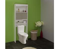 Symbiosis 6090A2191A17 - Armario alto para baño, madera, color blanco y gris