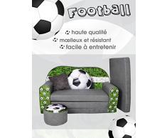 Fortisline W319_03 - Sofá infantil plegable (con taburete), diseño de fútbol