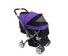 LLYU Carrito para carritos para mascotas con compartimento convertible, asa reversible, cochecito, cochecito, trotar, cuatro ruedas, ruedas giratorias, adecuado para perros pequeños, medianos y grande