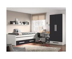 Dormitorio juvenil en color blanco combinado con grafito